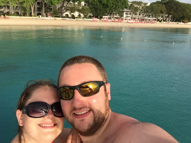On a yacht trip to Sandy Lane Beach in Barbados