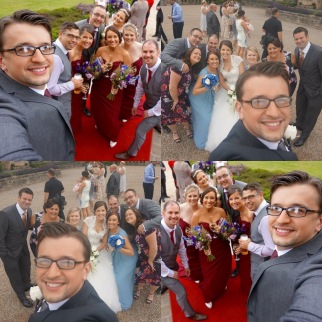Us and our beautiful best friends at our wedding and at one of our best friends weddings a few weeks before ours